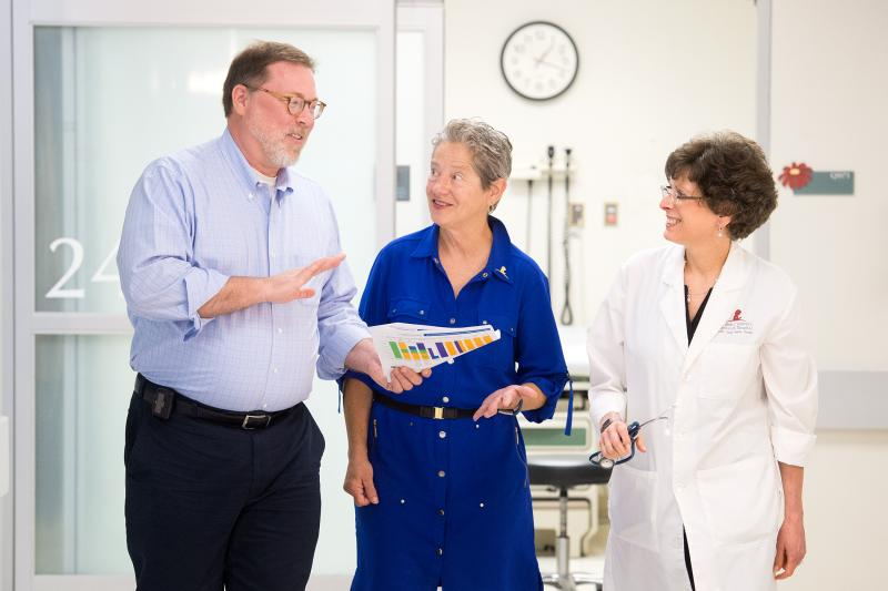 L-R: Dr James Klosky, Director, Psychological Services, St. Jude Department of Psychology, Dr Robbin Christensen, investigational studies pharmacist, and Dr Melissa Hudson, Director, Cancer Survivorship Division, St. Jude Children's Research Hospital.