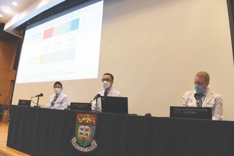 HKU researchers, from left: Dr Michael Ni, Prof Gabriel Leung, Prof Benjamin Cowling