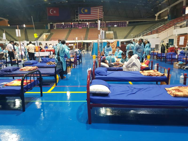 The interior of the medical relief centre at Pasir Gudang Indoor Stadium. (Photo credit: Ong Aik Liang)