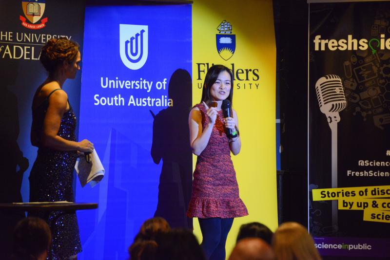 Lim sharing her stories at the 2018 Fresh Science South Australia forum.